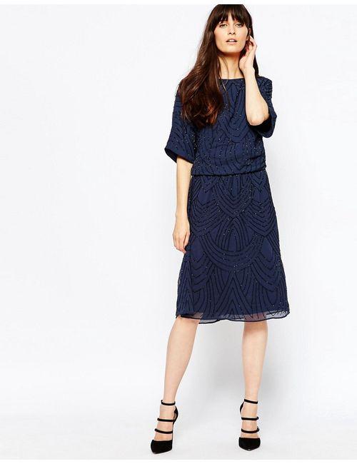 Selected | Navy Blazer Платье До Колен С Отделкой Бисером Calissa