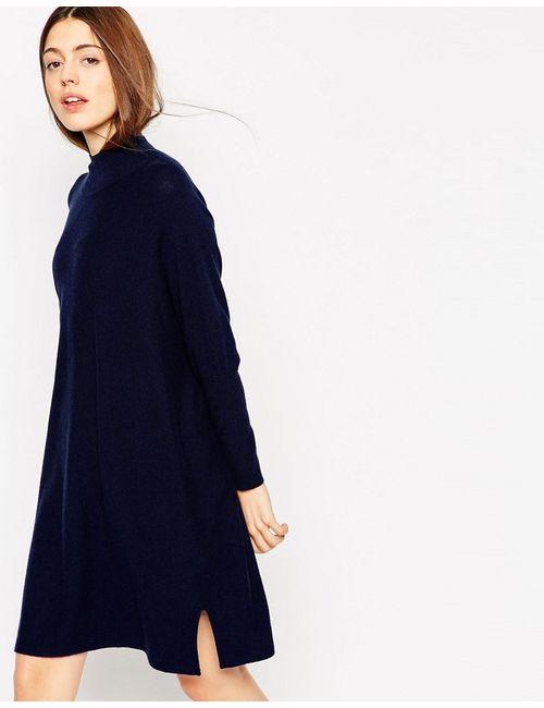 Asos | Синее Трикотажное Платье-Туника Из Кашемира С Высоким Воротом