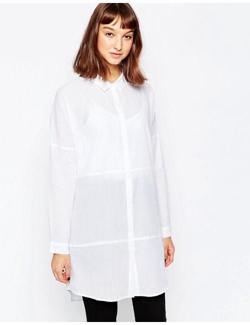 Minimum | Женская Белая Удлиненная Рубашка Без Воротника 000 Белый