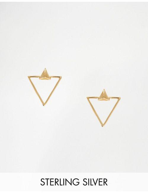 Asos | Золотые Серьги-Гвоздики В Виде Треугольников Из Позолоченного Серебра