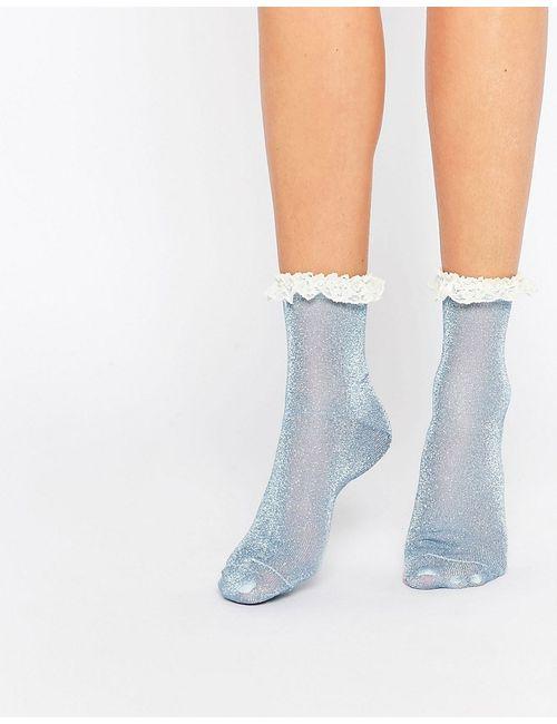 Asos | Женские Синие Блестящие Носки С Кружевной Отделкой Синий