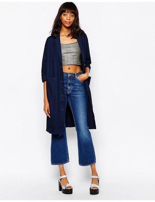 Monki | Синяя Длинная Джинсовая Куртка