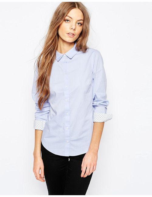 Selected | Женская Синяя Рубашка С Манжетами В Горошек Mema