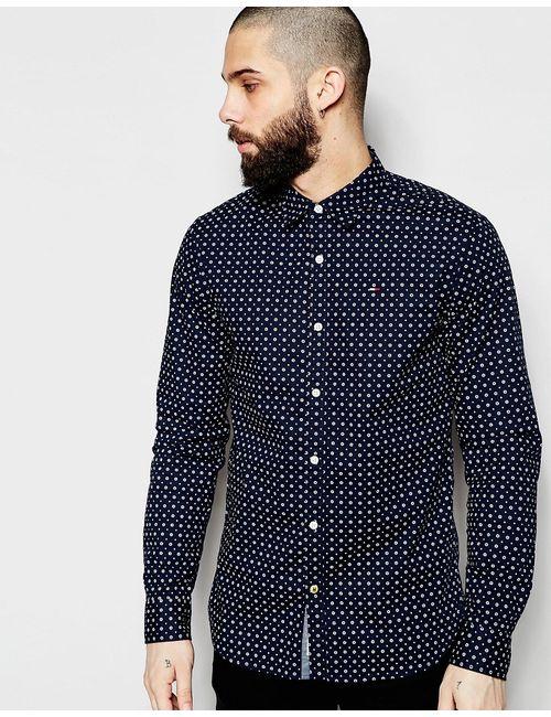 Hilfiger Denim | Мужская Синяя Эластичная Рубашка Узкого Кроя В Горошек Темно-Синий