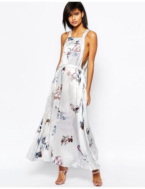 Asos | Женское Многоцветное Платье Макси С Размытым Цветочным Принтом Мульти