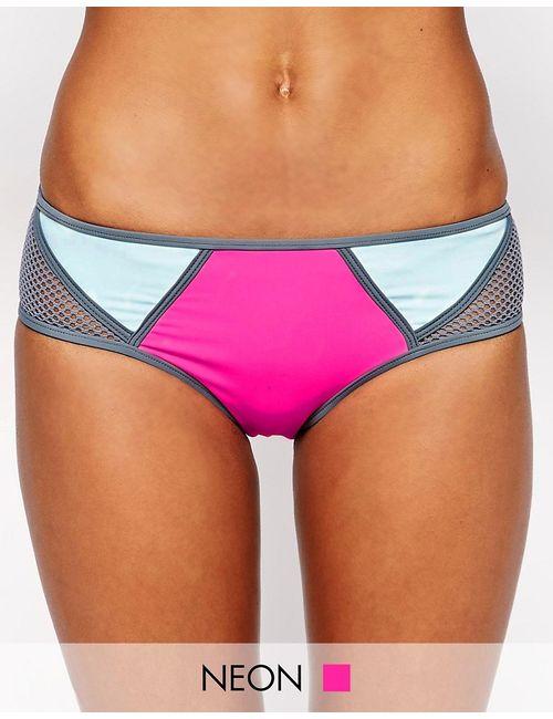Bikini Lab | Розовые Плавки Бикини Колор Блок С Сетчатой Отделкой