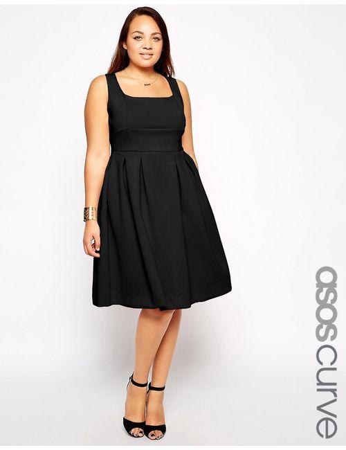 ASOS CURVE | Женское Чёрное Платье Миди Debutante