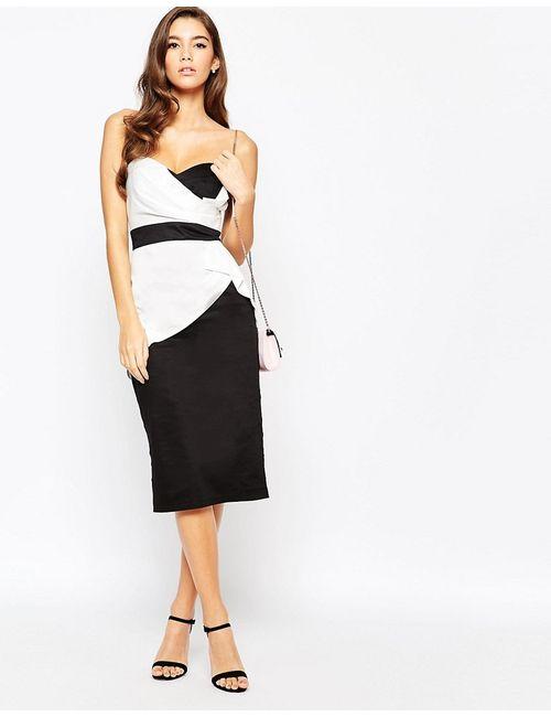 TFNC   Женское Контрастное Платье Миди В Стиле Бандо