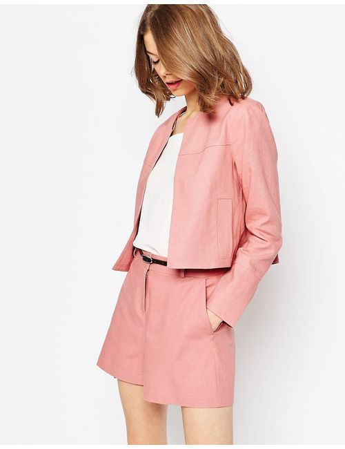 Asos   Розовый Укороченный Льняной Блейзер Пудрово-Розовый