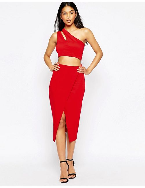 Asos | Красное Платье Миди С Укороченным Топом И Двумя