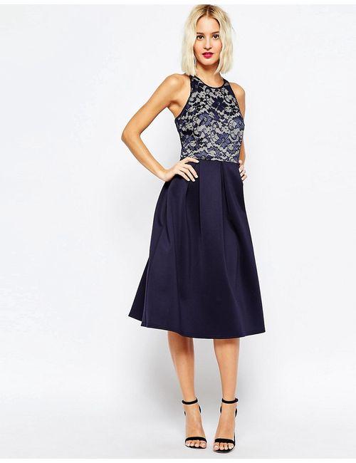 Asos | Синее Приталенное Платье Миди С Кружевным Топом