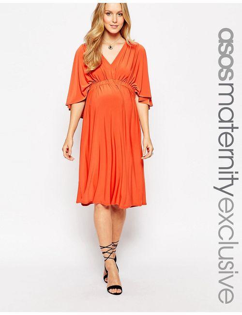 ASOS Maternity | Женское Красно-Бурое Приталенное Платье Миди Для Беременных