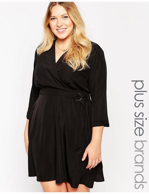 Yumi Plus | Женское Черный Платье Размера Плюс С Запахом И Dобразной