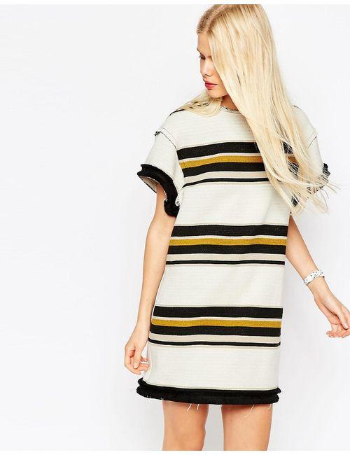 Asos   Женское Цельнокройное Платье С Необработанным Краем И Горизонтальными