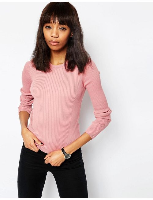 Asos | Розовый Джемпер В Рубчик С Круглым Вырезом Розовый