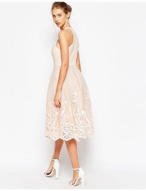 Asos | Женское Голубой Пышное Сетчатое Платье С Цветочной Вышивкой