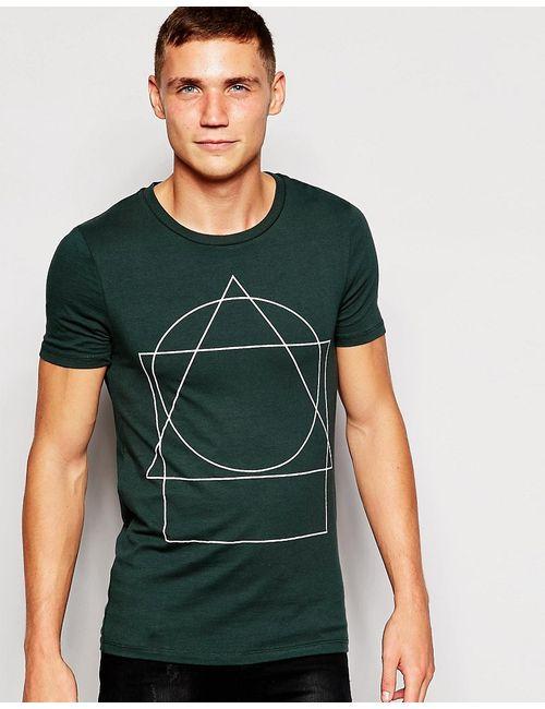 Asos   Мужская Зелёная Облегающая Футболка С Геометрическим Принтом