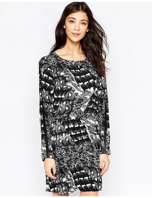 ICHI | Платье-Туника С Длинными Рукавами И Запахом Спереди