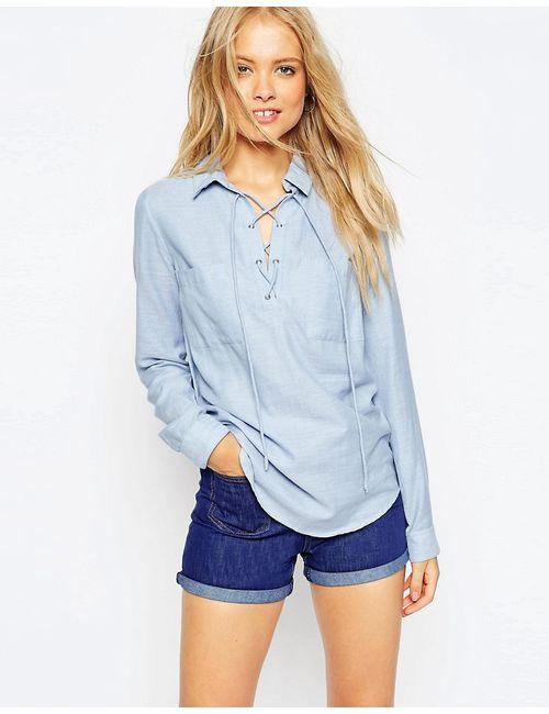 Asos | Мужская Синяя Мягкая Рубашка Со Шнуровкой