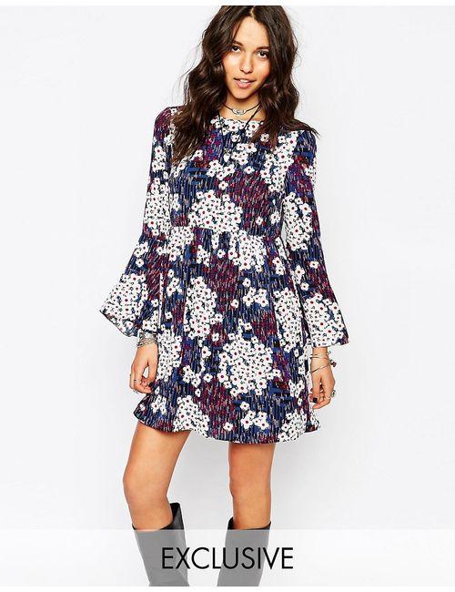 Reclaimed Vintage | Женское Синее Платье С Рукавомколокол И Мелким Цветочным Принтом