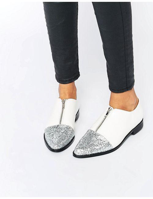 Asos | Женские Белые Блестящие Туфли На Плоской Подошве С Острым