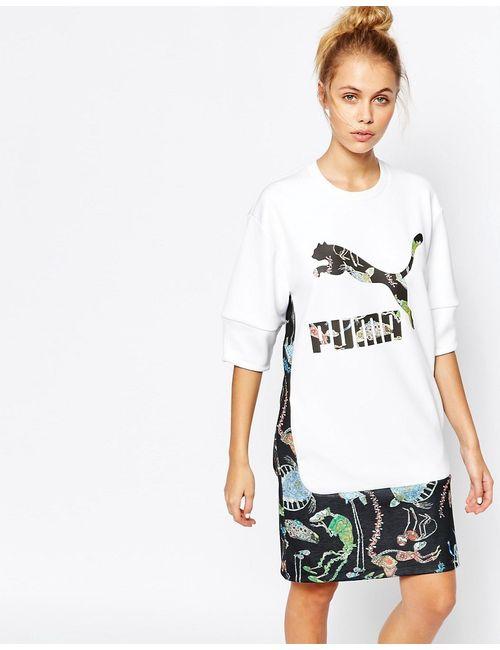 Puma | Белое Удлиненное Платьефутболка С Логотипом И Принтом Спереди