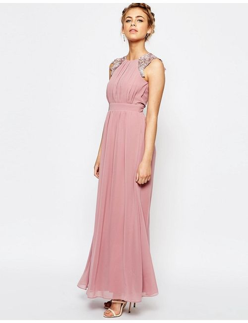 Little Mistress | Женское Розовое Платье Макси Со Складками И Кружевной Отделкой