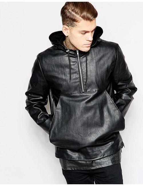 Asos | Женская Черный Куртка Из Искусственной Кожи С Капюшоном