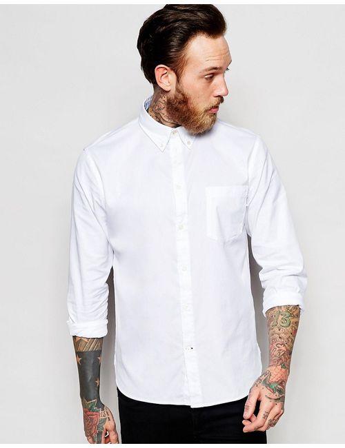 PS PAUL SMITH | Мужская Белая Оксфордская Рубашка Слим В Строгом Стиле Paul
