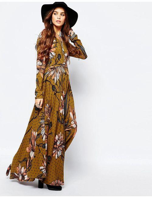 Free People | Женское Золотое Платье Макси С Крупным Цветочным Принтом First