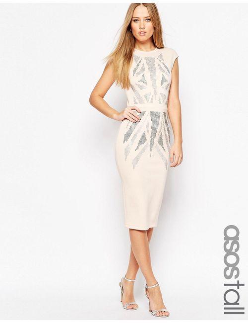 ASOS TALL | Женское Телесное Платье Миди С Короткими Рукавами Hotfix