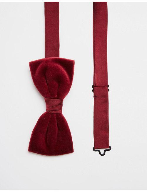 Noose & Monkey | Красный Бархатный Галстук-Бабочка Красный