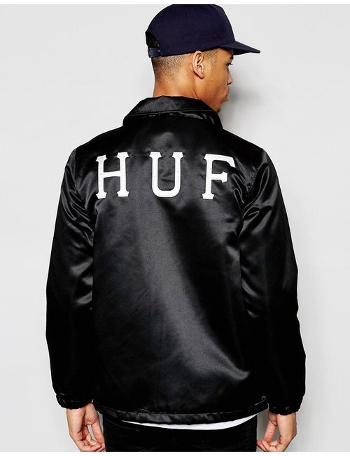 Huf   Мужская Чёрная Спортивная Куртка С Принтом На Спине