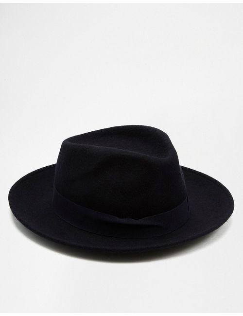 Catarzi   Мужская Синяя Мягкая Шляпа С Плоской Круглой Тульей И