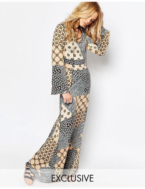 Glamorous | Многоцветное Платье Макси С Принтом И Шнуровкой