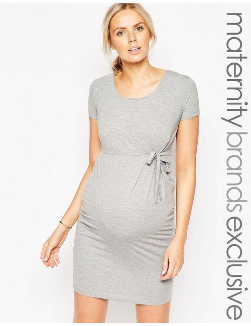 Mama Licious | Женское Серое Трикотажное Платье Для Беременных С Завязкой На