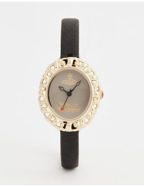 Vivienne Westwood | Мужские Чёрные Часы На Кожаном Ремешке Mini Vv005smbk