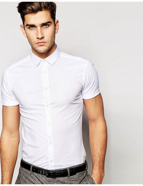 Asos | Белая Зауженная Белая Рубашка С Короткими Рукавами