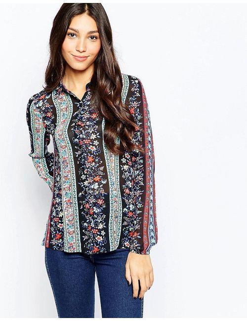 Style London   Женская Многоцветная Рубашка С Цветочным Принтом В Полоску