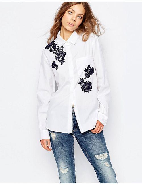 Sportmax Code | Белая Белая Рубашка С Длинными Рукавами И Вышивкой