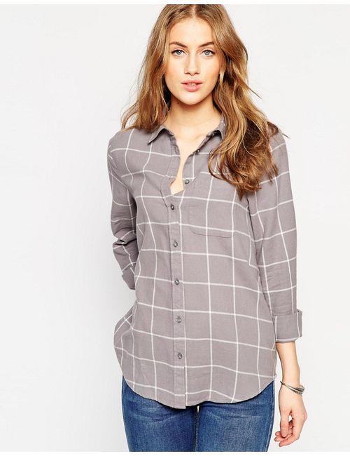 Asos | Женская Многоцветная Серая Рубашка Бойфренда В Кремовую Клетку Мульти