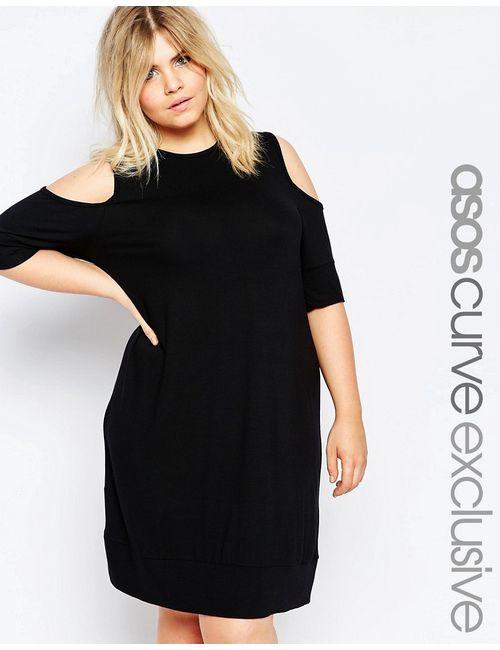 ASOS CURVE | Черный Платье-Футболка С Открытыми Плечами