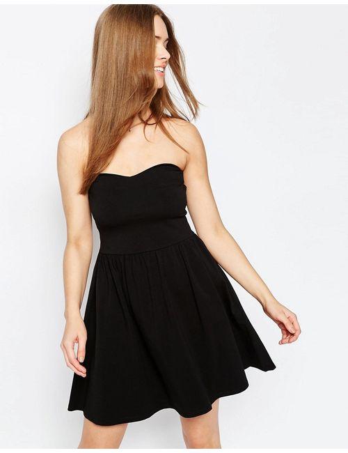Asos | Чёрное Платье Мини С Лифом Бандо