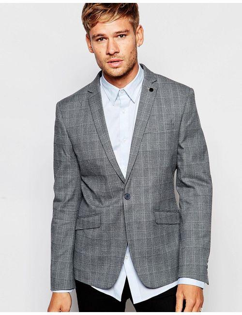 Selected Homme | Серый Облегающий Блейзер В Клетку
