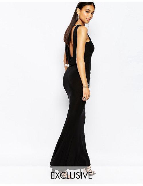 Club L | Чёрное Платье Макси Со Стразами И Открытой Спиной