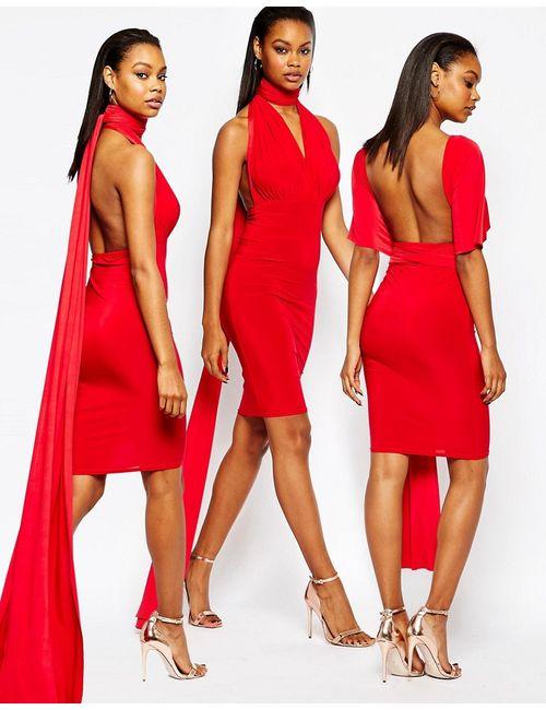 boohoo | Красное Облегающее Платье-Трансформер Длины Миди