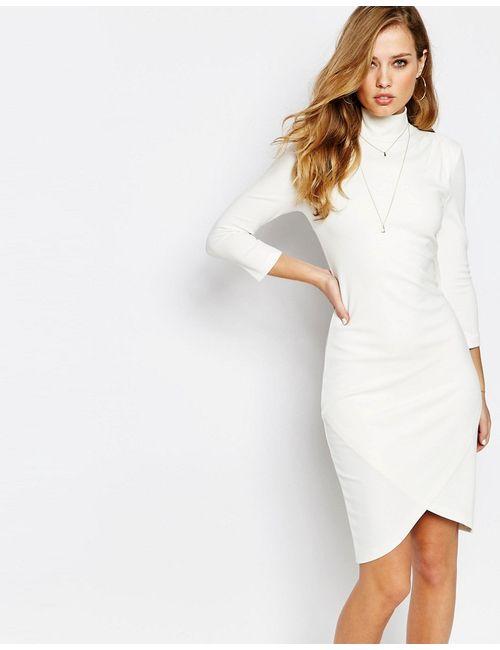SuperTrash | Женское Бежевое Платье Миди С Высокой Горловиной Dilanta Бежевый