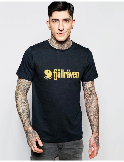Fjallraven | Мужская Синяя Футболка С Логотипом В Стиле Ретро