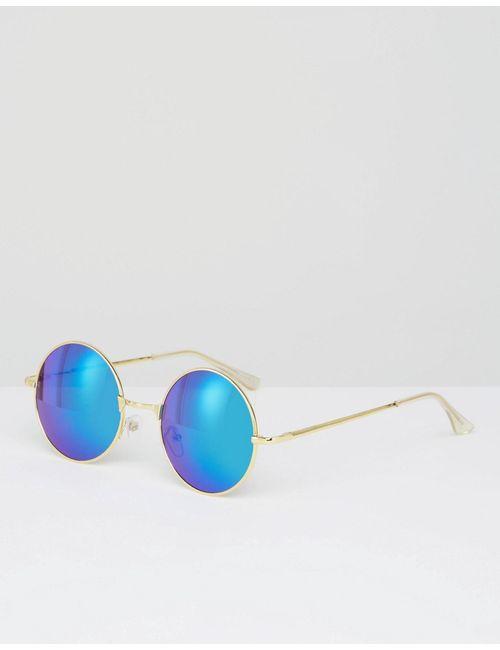 7X | Круглые Солнцезащитные Очки С Сине-Зелеными Линзами