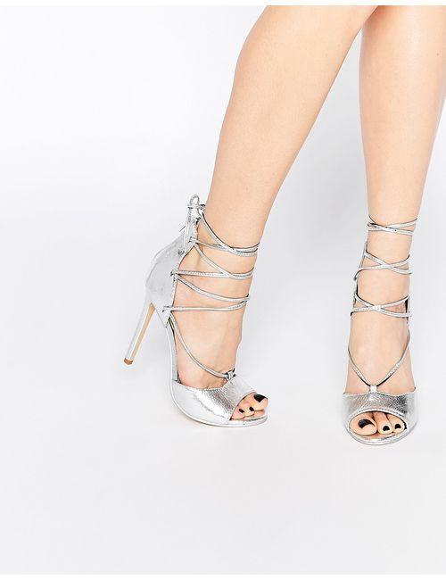 boohoo | Серебряные Туфли На Каблуке С Открытым Носком И